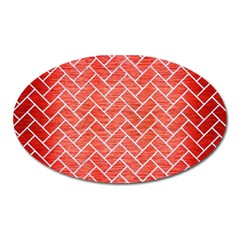 Brick2 White Marble & Red Brushed Metal Oval Magnet by trendistuff