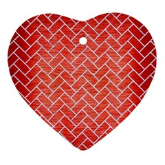 Brick2 White Marble & Red Brushed Metal Heart Ornament (two Sides)