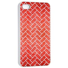 Brick2 White Marble & Red Brushed Metal Apple Iphone 4/4s Seamless Case (white) by trendistuff