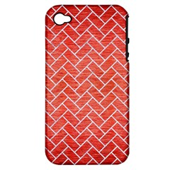 Brick2 White Marble & Red Brushed Metal Apple Iphone 4/4s Hardshell Case (pc+silicone) by trendistuff