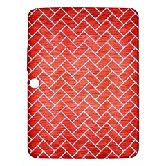 Brick2 White Marble & Red Brushed Metal Samsung Galaxy Tab 3 (10 1 ) P5200 Hardshell Case  by trendistuff