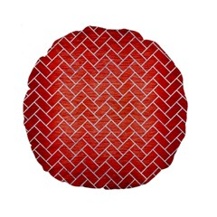 Brick2 White Marble & Red Brushed Metal Standard 15  Premium Flano Round Cushions by trendistuff