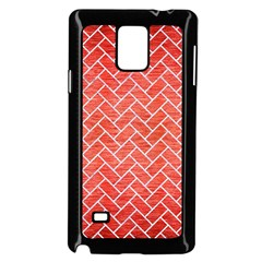 Brick2 White Marble & Red Brushed Metal Samsung Galaxy Note 4 Case (black)