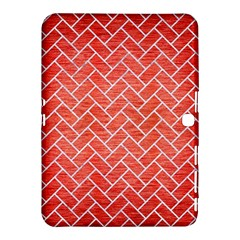 Brick2 White Marble & Red Brushed Metal Samsung Galaxy Tab 4 (10 1 ) Hardshell Case  by trendistuff