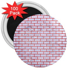 Brick1 White Marble & Red Brushed Metal (r) 3  Magnets (100 Pack) by trendistuff
