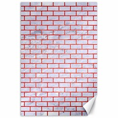 Brick1 White Marble & Red Brushed Metal (r) Canvas 24  X 36  by trendistuff