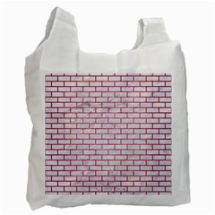 Brick1 White Marble & Red Brushed Metal (r) Recycle Bag (two Side)  by trendistuff