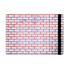Brick1 White Marble & Red Brushed Metal (r) Ipad Mini 2 Flip Cases by trendistuff