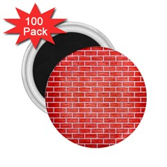 Brick1 White Marble & Red Brushed Metal 2 25  Magnets (100 Pack)  by trendistuff