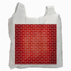 Brick1 White Marble & Red Brushed Metal Recycle Bag (two Side)  by trendistuff