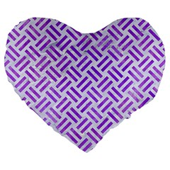 Woven2 White Marble & Purple Watercolor (r) Large 19  Premium Heart Shape Cushions by trendistuff