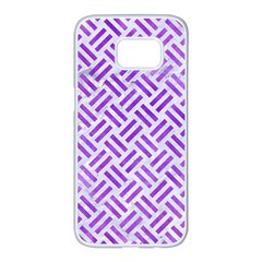 Woven2 White Marble & Purple Watercolor (r) Samsung Galaxy S7 Edge White Seamless Case by trendistuff