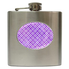 Woven2 White Marble & Purple Watercolor Hip Flask (6 Oz) by trendistuff