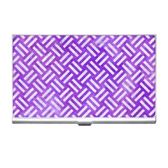 Woven2 White Marble & Purple Watercolor Business Card Holders by trendistuff