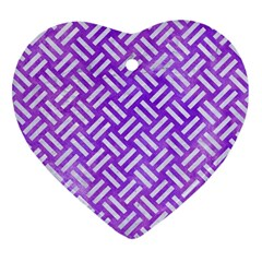 Woven2 White Marble & Purple Watercolor Heart Ornament (two Sides) by trendistuff