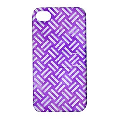 Woven2 White Marble & Purple Watercolor Apple Iphone 4/4s Hardshell Case With Stand by trendistuff