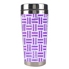 Woven1 White Marble & Purple Watercolor (r) Stainless Steel Travel Tumblers by trendistuff