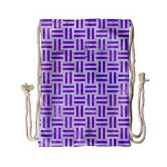 Woven1 White Marble & Purple Watercolor (r) Drawstring Bag (small) by trendistuff