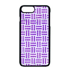 Woven1 White Marble & Purple Watercolor (r) Apple Iphone 8 Plus Seamless Case (black)