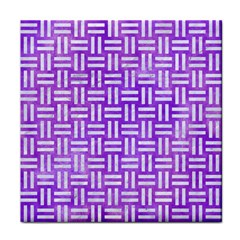 Woven1 White Marble & Purple Watercolor Tile Coasters by trendistuff
