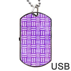Woven1 White Marble & Purple Watercolor Dog Tag Usb Flash (one Side) by trendistuff
