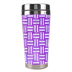 Woven1 White Marble & Purple Watercolor Stainless Steel Travel Tumblers by trendistuff