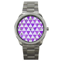 Triangle3 White Marble & Purple Watercolor Sport Metal Watch