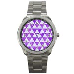 TRIANGLE3 WHITE MARBLE & PURPLE WATERCOLOR Sport Metal Watch Front