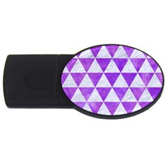 Triangle3 White Marble & Purple Watercolor Usb Flash Drive Oval (4 Gb)