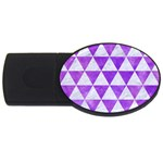 TRIANGLE3 WHITE MARBLE & PURPLE WATERCOLOR USB Flash Drive Oval (4 GB) Front