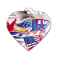 United States Of America Usa  Images Independence Day Dog Tag Heart (two Sides)