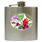 Vector Pattern Tropical Hip Flask (6 oz) Front
