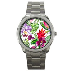 Vector Pattern Tropical Sport Metal Watch