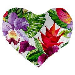 Vector Pattern Tropical Large 19  Premium Flano Heart Shape Cushions by Sapixe