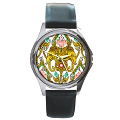 Traditional Thai Style Painting Round Metal Watch by Sapixe