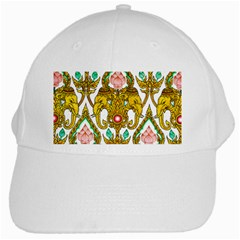 Traditional Thai Style Painting White Cap by Sapixe