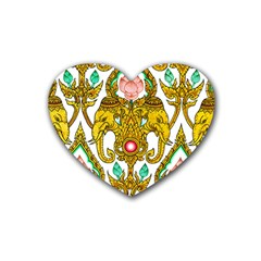 Traditional Thai Style Painting Heart Coaster (4 Pack)