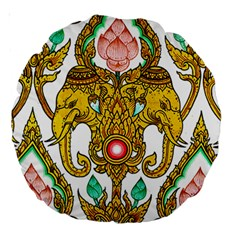 Traditional Thai Style Painting Large 18  Premium Round Cushions