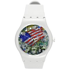 Usa United States Of America Images Independence Day Round Plastic Sport Watch (m) by Sapixe