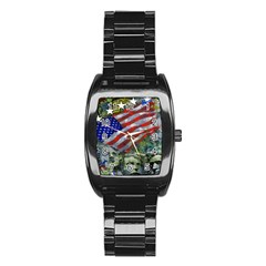 Usa United States Of America Images Independence Day Stainless Steel Barrel Watch