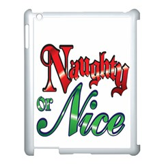 Vintage Christmas Naughty Or Nice Apple Ipad 3/4 Case (white) by Sapixe