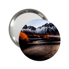 Vestrahorn Iceland Winter Sunrise Landscape Sea Coast Sandy Beach Sea Mountain Peaks With Snow Blue 2 25  Handbag Mirrors by Sapixe
