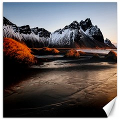 Vestrahorn Iceland Winter Sunrise Landscape Sea Coast Sandy Beach Sea Mountain Peaks With Snow Blue Canvas 16  X 16   by Sapixe