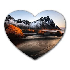 Vestrahorn Iceland Winter Sunrise Landscape Sea Coast Sandy Beach Sea Mountain Peaks With Snow Blue Heart Mousepads