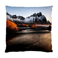 Vestrahorn Iceland Winter Sunrise Landscape Sea Coast Sandy Beach Sea Mountain Peaks With Snow Blue Standard Cushion Case (one Side) by Sapixe