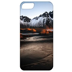 Vestrahorn Iceland Winter Sunrise Landscape Sea Coast Sandy Beach Sea Mountain Peaks With Snow Blue Apple Iphone 5 Classic Hardshell Case by Sapixe