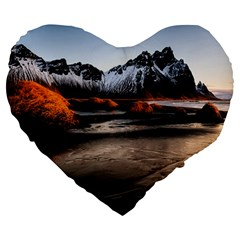 Vestrahorn Iceland Winter Sunrise Landscape Sea Coast Sandy Beach Sea Mountain Peaks With Snow Blue Large 19  Premium Heart Shape Cushions