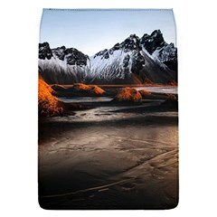 Vestrahorn Iceland Winter Sunrise Landscape Sea Coast Sandy Beach Sea Mountain Peaks With Snow Blue Flap Covers (s)  by Sapixe