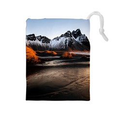 Vestrahorn Iceland Winter Sunrise Landscape Sea Coast Sandy Beach Sea Mountain Peaks With Snow Blue Drawstring Pouches (large)  by Sapixe
