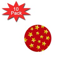 Yellow Stars Red Background Pattern 1  Mini Buttons (10 Pack)